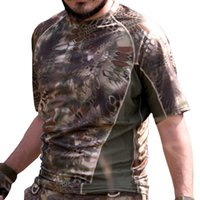 Wholesale Highlander Men s Breathable Army Tactical Camouflage Combat T Shirt Quick Dry Hunting Base Layer Military Outdoor Camping