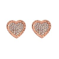 Wholesale 2017 Hot heart stud Earrings For Women Girls Cute crystal Ear stud silver gold rose gold color