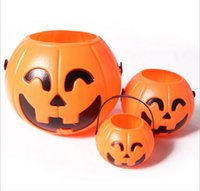Halloween pumpkin - Halloween Decoration Props Smile Face Pumpkin Candy Bags Basket LED Lantern Craft Ornament S M L size Available