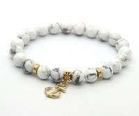 anchor charm lot - ps mm White Howlite Stone Beads with Anchor Charm Lucky Bracelets For Party Gift