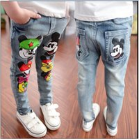 Wholesale 2016 Children Cartoon Mickey Mouse Jeans Boys Girls Fashion Denim Pants Kids Cowboy Trousers Korean Style Child Spring Autumn Casual Pant