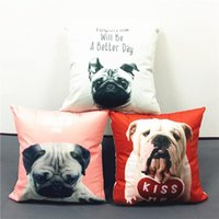 better dogs - Lovely Pug Dog Pillowcase English Letters Miss You Kiss Me Tomorrow A Better Day Pillow Covers Home Decorative Throws Soft Cushion Cover