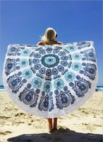 Wholesale 20 Types Cotton Round Beach Towel cm Bath Towel Tassel Decor Geometric Printed Bath Towel Summer Style