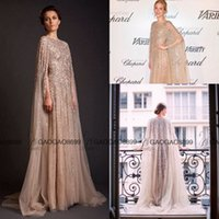 Wholesale Shiny Silver One Sleeve Dress - Krikor Jabotian 2017 Champagne Gold Sparkly Shiny Prom Dresses with Cape Middle East Muslim Arabic Occasion Evening Formal Dress