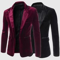 autumn cashmere men - New Autumn Winter Fashion Blazer Men Slim Blazers Casual Suits Velvet Jacket Blazer Masculino Terno Plus Size