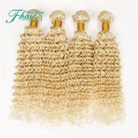 Cheap 9A Brazilian Deep Curly Blonde Human Hair Weaves #613 Platinum Bleach Blonde Hair 4 Bundles Lot Deep Curly Blonde Hair Wefts Extensions