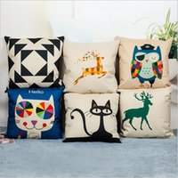 animal seat covers - 45cm cm animal cat pattern linen and cotton pillow cover sofa pillow case car seat cushion decorative pillow