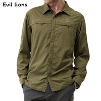 Wholesale Evil Lions men camping hiking sport shirts outdoor windpoor quick dry tops male brethable nylon man shirt