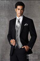 Wholesale Custom Made Groom Tuxedos Two Buttons Black Notch Satin Lapel Best man Groomsman Men Wedding Suits Bridegroom Jacket Pants Tie Vest