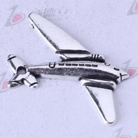 aeroplane charms - Aeroplane Pendant Antique bronze silver Charms Fit Bracelets or Necklace DIY alloy Jewelry z
