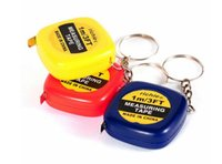 Wholesale New hot Mini M Tape Measure keychain keychains Steel Ruler Portable Pulling Rulers With Key Chain rings christmas gift