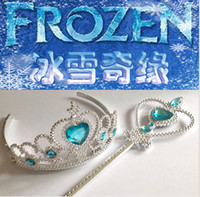 Wholesale Frozen Crown Wands Sets Children Hair Accessories Girls Birthday Party Supplies Heart Tiaras and Magic Wand with Rhinestone