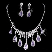 beaded drop earrings - 2017 Shinning Rhinestones Bridal Jewelry Set Bling Beaded Sliver Bride Wedding Party Earring Bracelet Necklace Jewel Set Accessories