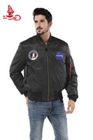 american flying jackets - Freelee MA NASA Navy flying jacket Nylon Thick Winter letterman varsity american college bomber flight jacket for men