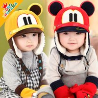 Wholesale 2016 Hot Selling Children Winter Cold proof Thick Fleece Snow Caps Baby Boy Girl Cartoon Bomber Hat Gloves Set