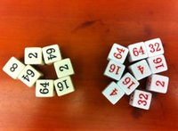 Wholesale 16 MM Acryl Number figure dice for Education and More white beige