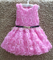 Wholesale 2016 Hot Sale Baby Girls Sleeveless Rose Dress Round Neck Princess Dress With Belt Kids Summer Tutu Dress Children Clothing