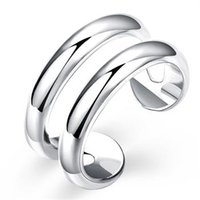 Wholesale Brand Beautiful Fashion Jewelry Silver Ring Two Wire Open Band Rings for women R038