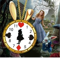 alice black chains - Alice in Wonderland Pendant Necklace Bunny Ears Clock Necklace Mad Hatter Cartoon Jewelry Queen of Hearts Necklace Jewellery Vintage K7475