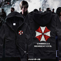 Wholesale Winter Umbrella Resident Evil Hoodies Men Black Casual Zippered Hooded Sweatshirt Premium Brand Clothing