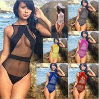 Cheap Hot Women Bodysuit Sexy Black Transparent Mesh Strap Swimwear One Piece Bathing Suit Sexy Bikini Beach Swimming Suit