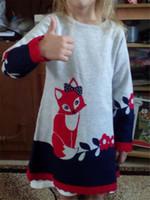 Acheter Nouvelle filles vêtements-Cute Robes plus récentes pour les filles Robe pour enfants Cartoon Fox Printed Jupes Printemps Automne Long Sleeve Lace Girls Robes Enfants Vêtements