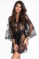 babydoll wear - Women Sexy Lingerie Hot Belt Lace Pink Kimono Intimate Sleepwear Robe Sexy Babydoll Night Gown Sexy Wear
