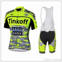 al por mayor jersey de la bici del ejército-2016 Tinkoff saxo banco Ciclismo Jersey conjuntos Tour de Francia Bicicleta de manga corta desgaste Ejército Verde Fluo Bib Shorts bicicleta de carretera ropa XS-4XL