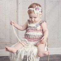 Wholesale Sweet Baby Girls Lace Rompers Multi Color Ruffles Party Clothing Patchwork Halter Cute Baby Summer Fall Rompers