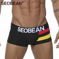 Cheap 3pcs Seobean Brand Sexy Men Underwear Boxers Cotton Shorts Mens Brief Trunks Gay Penis Pouch WJ Low Waist Designed Belt Boxers