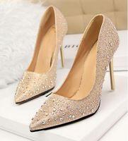 Wholesale 2016 Lady Gorgeous Nightclub Evening Shoes High Heels Rhinestones Ponited Toe Sandals Woman Wedding Bridal Dress Shoes