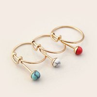bulk rings - 2016 Brief gemstone rings for women turquoise natural stone white red blue gemstone gold silver band fashion jewelry bulk price