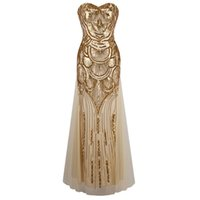Wholesale 1920s Long Strapless Gold Off Shoulder Dress Art Deco Gatsby Vintage Vestido Sequined Shining Sexy Party Gown With Recoil Belts