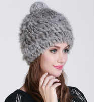 beanie hat shop - High quality Fashionable winter hats for women Rabbit Fur beanie Knitting wool Real Fur Casual cute girls cap pompom hat free shopping