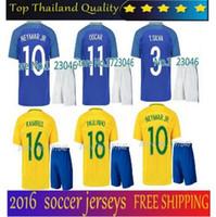 home kit - New Brazil kit soccer jersey NEYMAR JR home away T SILVA OSCAR D COSTA DAVID LUIZ top quality Brazil football shirt soccer kit jersey