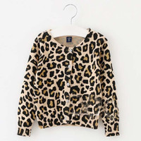 Wholesale Knitted Children Clothes - Knitted Sweaters Leopard Crochet Cardigan Girl Dress 2016 Spring Autumn Sweater Coat Girls Tops Children Clothes Kids Clothing Ciao C23275