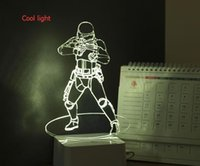 america lamp - 1Piece D Stereoscopic Lamp Flame Trooper Captain America Iron Man Mood Lamp w LED D Acrylic Night Light USB Desk Lamp Creative Gift
