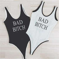 Wholesale 2016 New Fashion Bad Bitch Letter Printed One Piece Swimsuit Women Sexy Jumpsuits Bathing Suits Beach Swimwear