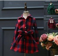 Wholesale 2016 New Kids Girl Fall and Winter Shirt Dress Children Clothing Dress Girl preppy style Thicken Shirt Dress M101109