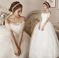 Wholesale 2016 Lace Wedding Dresses Long Sleeves Off The Shoulder Court Train Elegant A Line Bridal Gowns