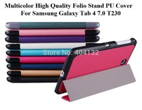 Cheap 20PCS By DHL Fedex Luxury PU Protective Skin Stand Smart CoverFor Samsung Galaxy Tab 4 7.0 Folio Case