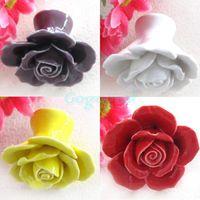 Wholesale 5pcs Vintage Rose Flower Ceramic Knob Cabinet Drawer Kitchen Cupboard Pull Handle
