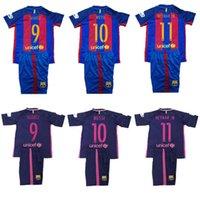 Wholesale 2016 BarcelonaES Kids jersey Youth Messi neymar jr A iniesta Suarez Arda Soccer Sets Boys Barce Children Baby kits Suit uniform Shirts