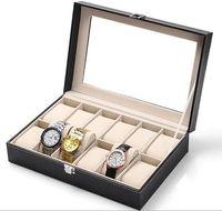 Wholesale Leather Slots Wrist Watch Display Box Storage Holder Organizer Windowed Case Black Jewelry boxes Factory price