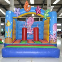 Wholesale With beautiful oncean painting inflatable octopus bouncer kid funny toy inflatable play house with CN14960 certification