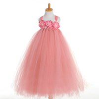 Fashion lovely peach couleur fleur fille robes filles pagent robes princesse robe de bal robe fille robes perlées