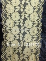 Cheap 17.5 cm width 50yds Yellow elegant elastic stretch double floral lace fabric sewing trim DIY craft wedding doll dress headband