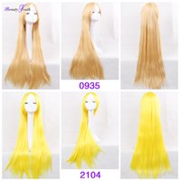 Wholesale HLSK Cosplay Wig Oblique Bangs Long Straight Wigs cm inches Costume Party Hair Wig Synthetic Hair