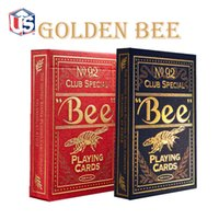 bee cards decks - Bee Poker Golden Bee Deck Blue Or Red Playing Cards Gift Cards Magic Tricks Magic Props Magic Toys
