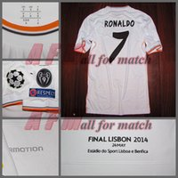 Wholesale UCL Final Lisboa R M Match Worn Player Issue Home Ronaldo Bale Sergio Ramos Football Rugby Custom Patches Sponsor